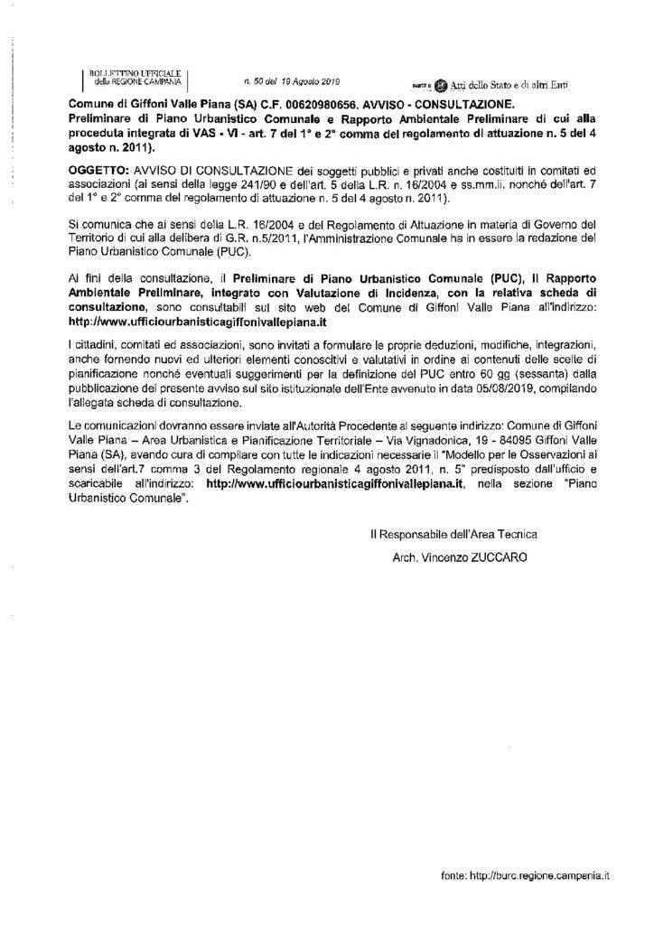 TERMINE ULTIMO PER PRESENTAZIONI OSSERVAZIONI PRELIMINARE DI PUC